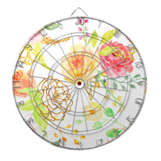 Watercolor peach and gold rose pattern dartboards