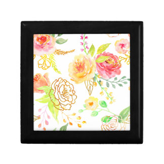Watercolor peach and gold rose pattern gift box