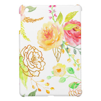 Watercolor peach and gold rose pattern iPad mini cover