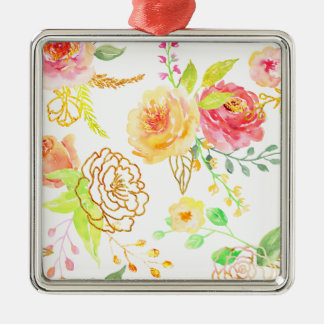 Watercolor peach and gold rose pattern metal ornament