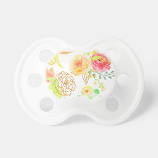 Watercolor peach and gold rose pattern pacifier