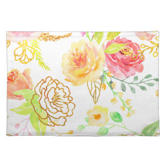 Watercolor peach and gold rose pattern placemat
