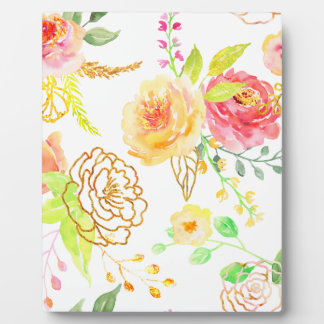 Watercolor peach and gold rose pattern plaque