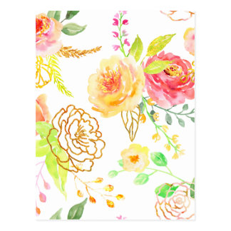 Watercolor peach and gold rose pattern postcard