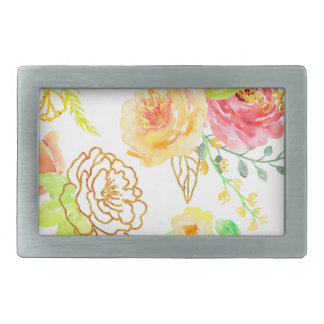 Watercolor peach and gold rose pattern rectangular belt buckles