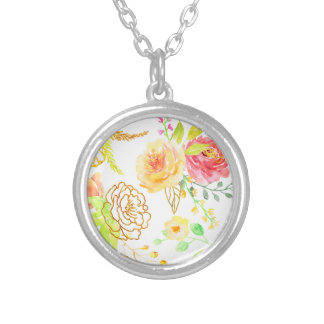 Watercolor peach and gold rose pattern silver plated necklace