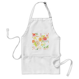 Watercolor peach and gold rose pattern standard apron