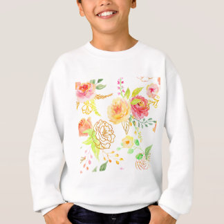 Watercolor peach and gold rose pattern sweatshirt