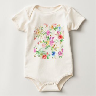 Watercolor Peach and Yellow Rose Pattern Baby Bodysuit