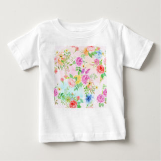 Watercolor Peach and Yellow Rose Pattern Baby T-Shirt