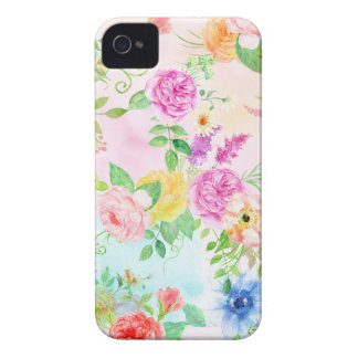 Watercolor Peach and Yellow Rose Pattern iPhone 4 Case-Mate Cases
