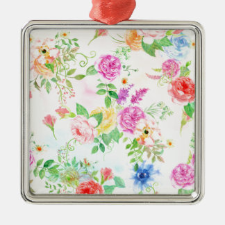 Watercolor Peach and Yellow Rose Pattern Metal Ornament