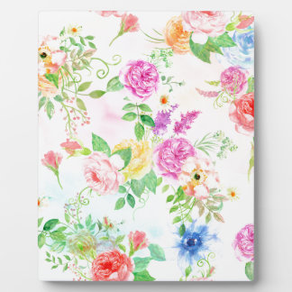 Watercolor Peach and Yellow Rose Pattern Plaque