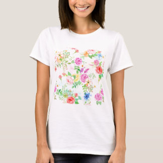 Watercolor Peach and Yellow Rose Pattern T-Shirt