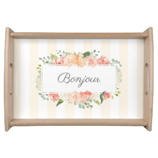 Watercolor Peach Floral and Stripes Pattern Serving Tray