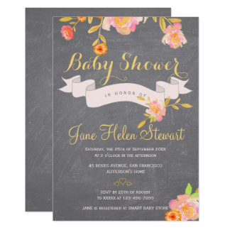 Watercolor peach floral chalkboard baby shower card