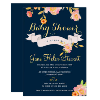 Watercolor peach floral navy blue baby shower card