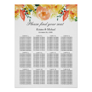Watercolor Peach Floral Wedding Seating Chart