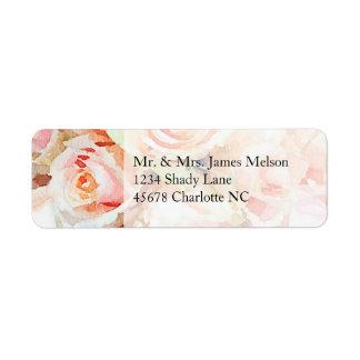 Watercolor Peach Pastel Rose Return Address Return Address Label