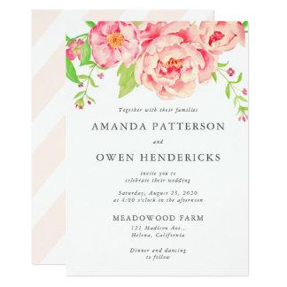Watercolor Peach Roses Wedding Card