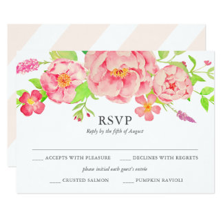 Watercolor Peach Roses Wedding RSVP Card