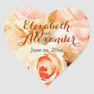 Watercolor Peach Roses with Names Heart Sticker