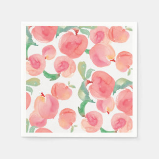 Watercolor Peaches Disposable Napkins