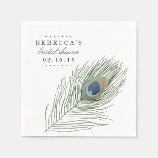 Watercolor Peacock Feather Bridal Shower Paper Napkin