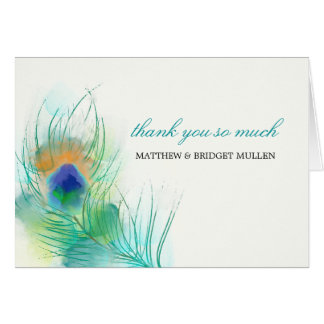 Watercolor Peacock Feather Thank You Card