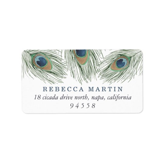 Watercolor Peacock Feathers Return Label