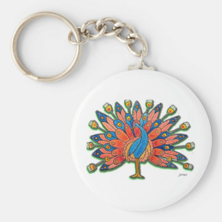Watercolor Peacock Keychain