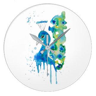 Watercolor Peacock Large Clock