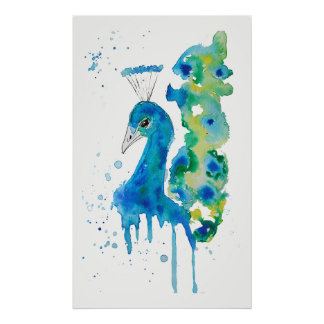 Watercolor Peacock Poster