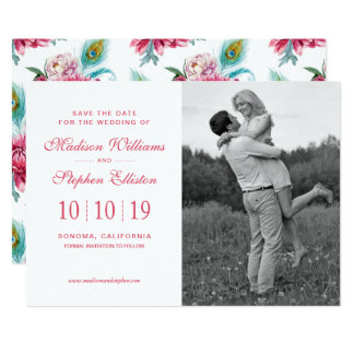 Watercolor Peacock & Red Floral - Save the Date Card