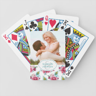 Watercolor Peacock & Red Floral - Wedding Photo Bicycle Playing Cards
