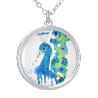Watercolor Peacock Silver Plated Necklace