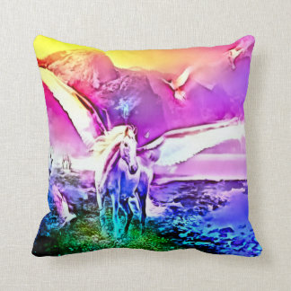 Watercolor Pegasus Fantasy Art Plush Throw Pillow