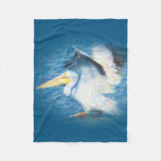 watercolor pelican 17 fleece blanket