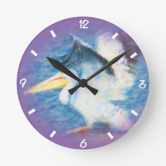 watercolor pelican 17 round clock