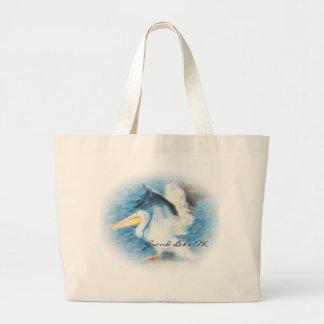 watercolor pelican 17 tote
