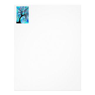 Watercolor Pen and Ink Tree - Blue Letterhead Design