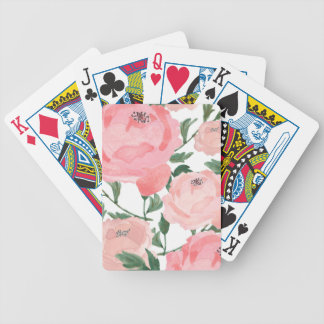 Watercolor Peonies 1 Bicycle Playing Cards