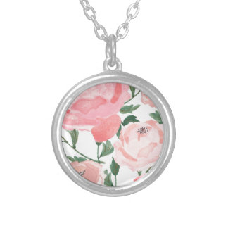 Watercolor Peonies 1 Silver Plated Necklace