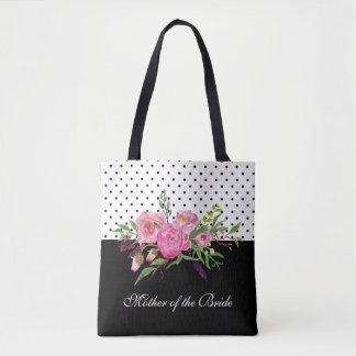 Watercolor Peonies and Dots Tote Bag