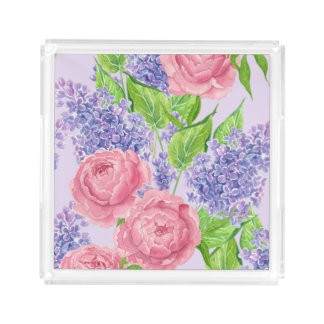Watercolor peonies and lilacs acrylic tray