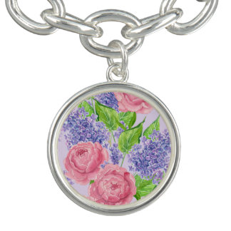 Watercolor peonies and lilacs charm bracelet