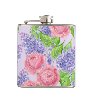 Watercolor peonies and lilacs hip flask