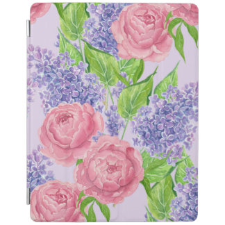 Watercolor peonies and lilacs iPad cover