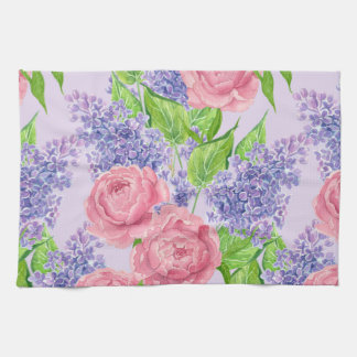 Watercolor peonies and lilacs kitchen towel