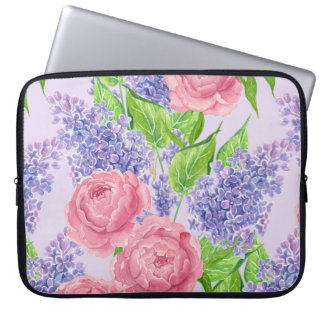 Watercolor peonies and lilacs laptop sleeve